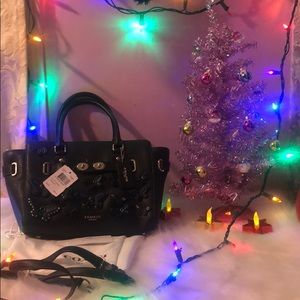 Coach Blake black leather butterfly tote.NWTFIRM